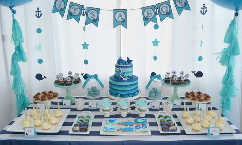 baby shower gar on une d co tout en bleu