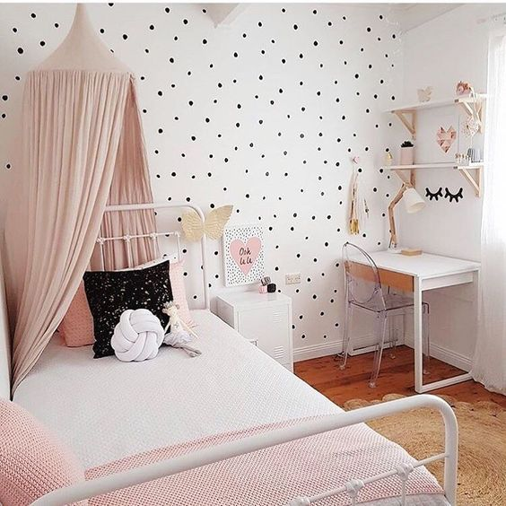 décoration chambre fille polka dot