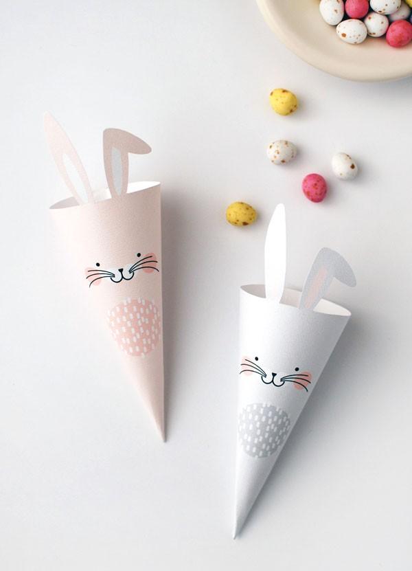 cornet lapin à imprimer pour Paques