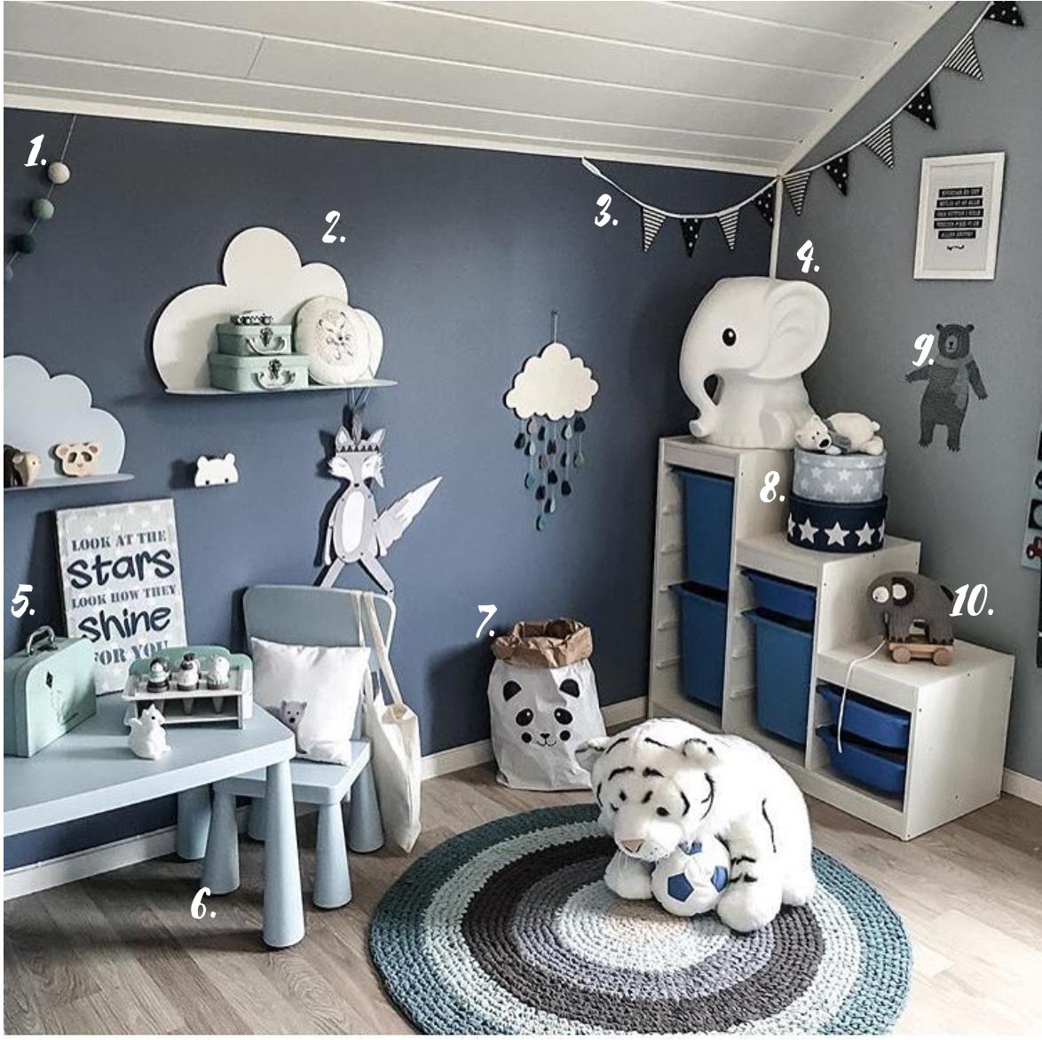 décoration chambre garçon bleu gris