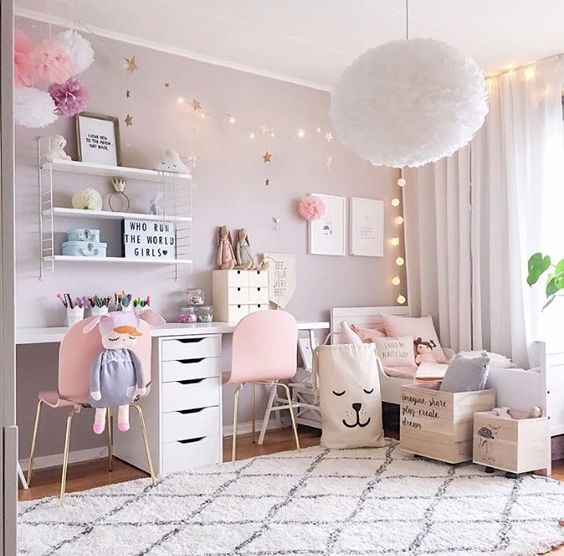 SHOP THE ROOM | Décoration chambre fille rose pastel > Club Mamans