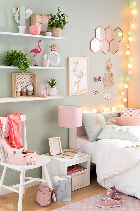 décoration chambre fille flamant rose