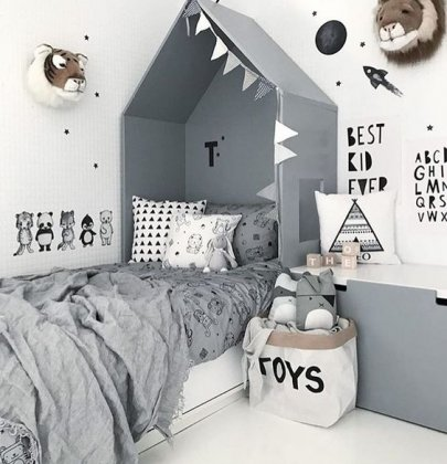 SHOP THE ROOM | Lit cabane scandinave gris