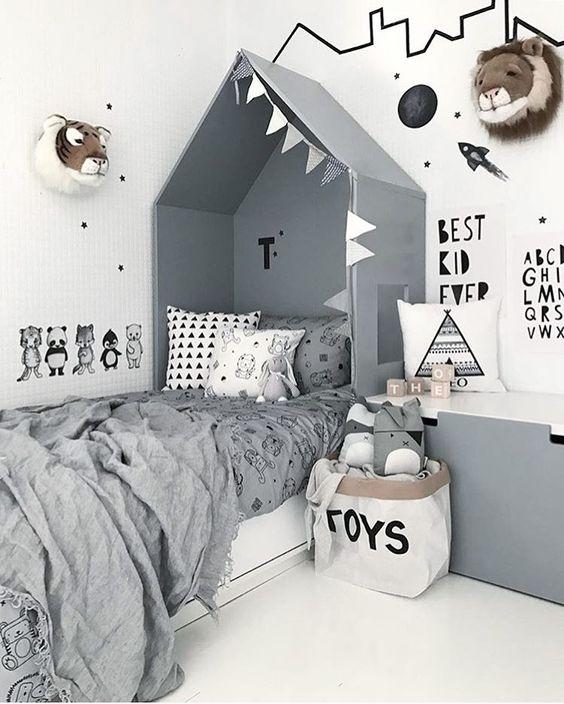 chambre enfant lit cabane scandinave gris