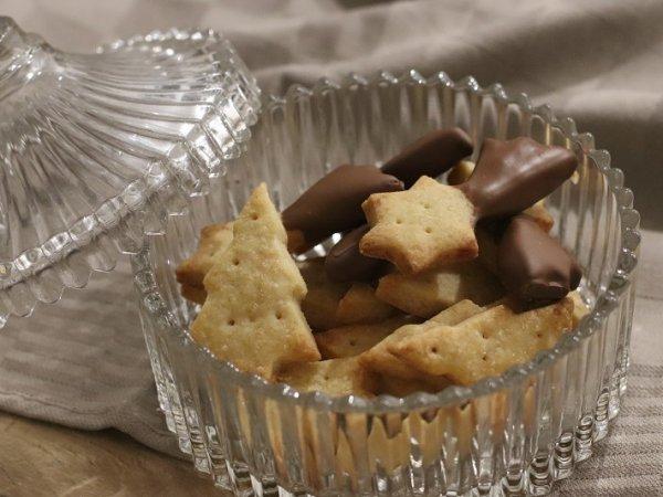 Biscuits de Noël : Shortbead fleur de sel et chocolat